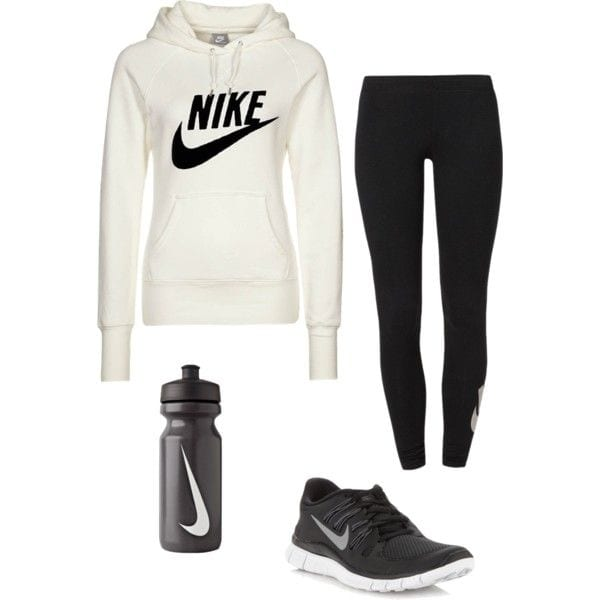 white hooded sweatshirt, sports leggings and cushioned shoes