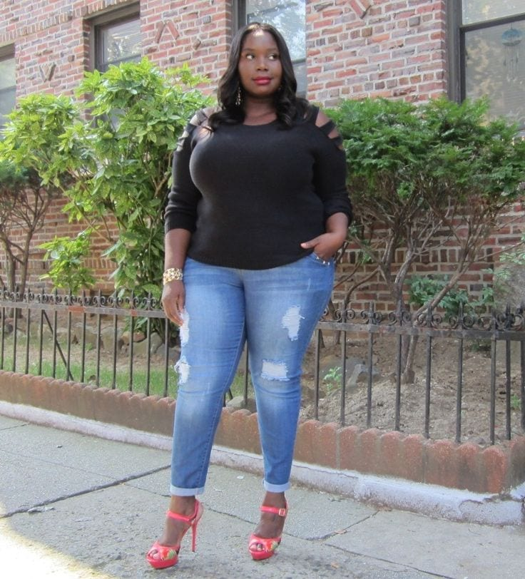 15 Cute Outfits with Skinny Jeans for Plus Size Ladies
