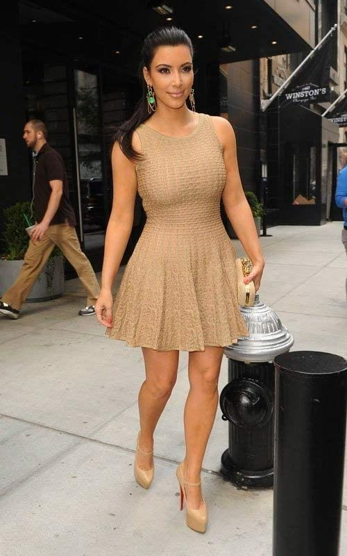kim-kardashian-in-short-dress 30 Most Stylish Kim kardashian's Outfits Rocking Social Media