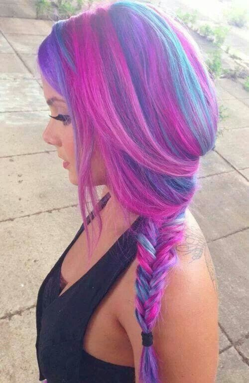 purple-blue-pink-hairstyle-combination Purple Hairstyles- These 50 Cute Purple Shade Hairstyles You Cant Resist Trying