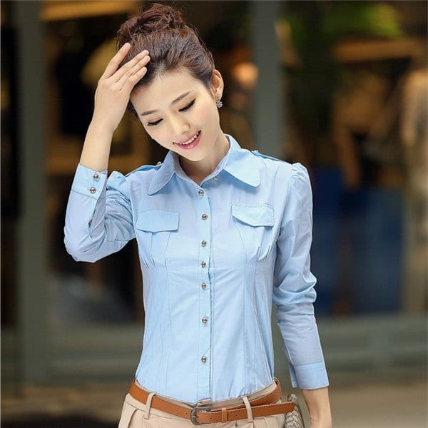 2015-Spring-Summer-New-Women-Korean-Fashion-Clothing-Girl-Casual-Slim-Long-Sleeve-Blouse-Shirt-Office Korean Women Fashion - 18 Cute Korean Girl Clothing Styles