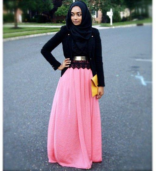 313212-hijab-style-pink-skirt Hijab Skirt outfits-24 Modest Ways to Wear Hijab with Skirts