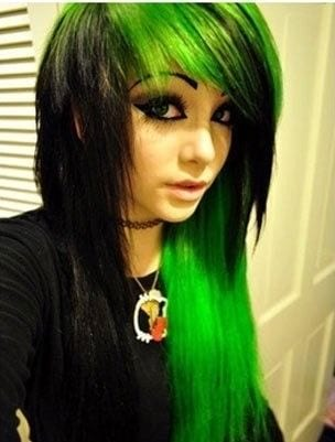 emo-style-green-hairs Latest Green Hairstyles-These 23 Shades of Green Hairs you Cant Resist