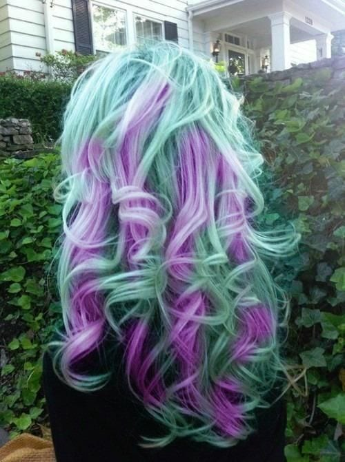 green and purple mix hairs