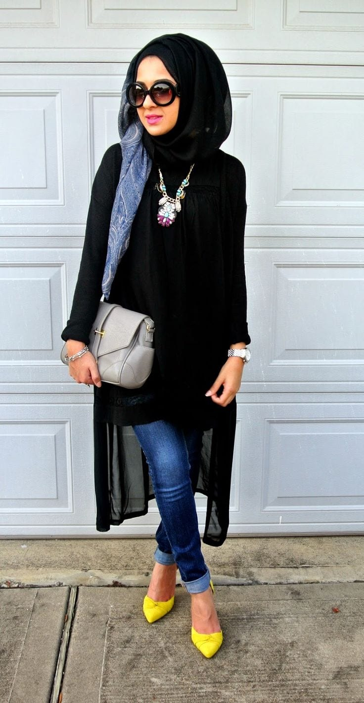 How to style abaya with jeans? (4)