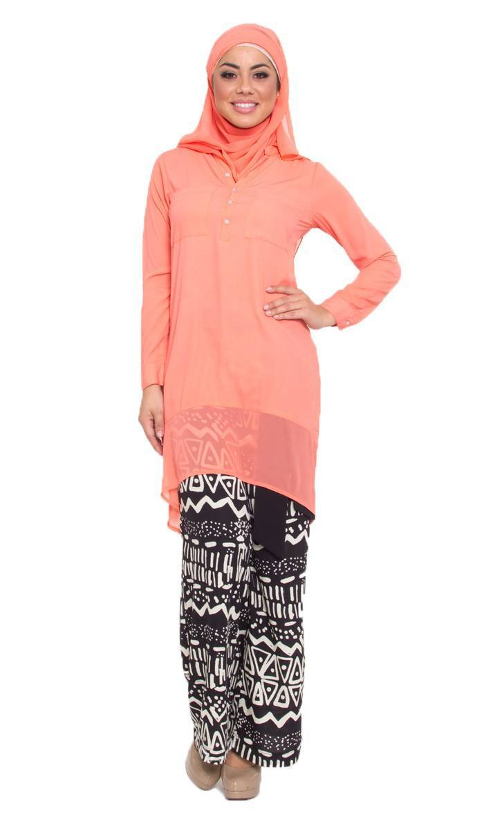 krisma-peach-high-low-islamic-long-tunic-1_2_4 Hijab with Palazzo Pants-20 Ways to Wear Palazzo Pants Modestly