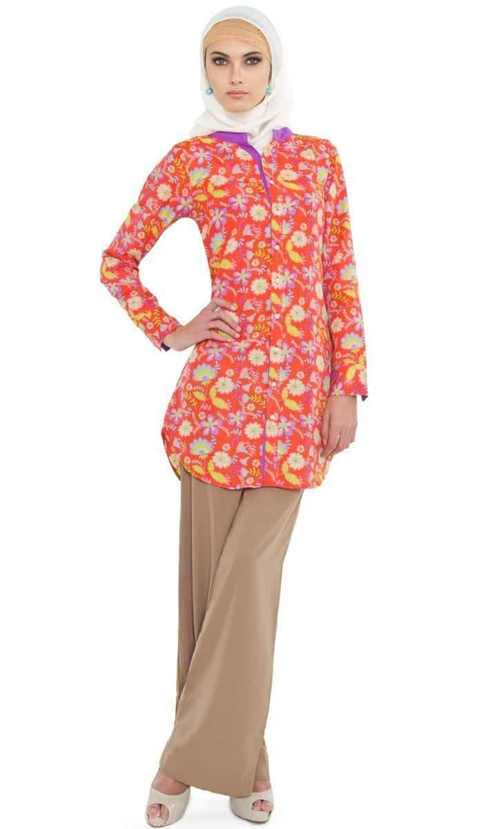 sahar-coral-floral-print-long-islamic-tunic-1_1 Hijab with Palazzo Pants-20 Ways to Wear Palazzo Pants Modestly