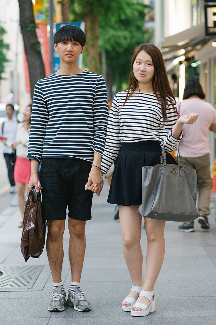 Striped shirts are very common, for both young boys and girls