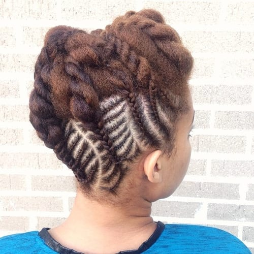 3-updo-with-cornrows-and-twists Cornrow Hair Styles for Girls-20 Best Ways to Style Cornrows