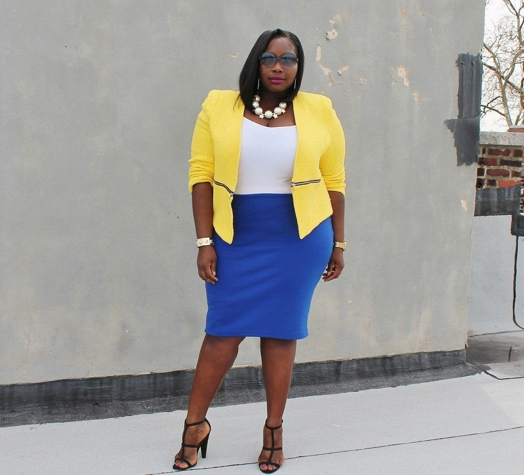 #15 - Pale yellow coat over a cobalt skirt