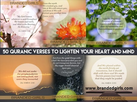 collage 50 Quranic Verses to Lighten your Heart and Refresh your Mind
