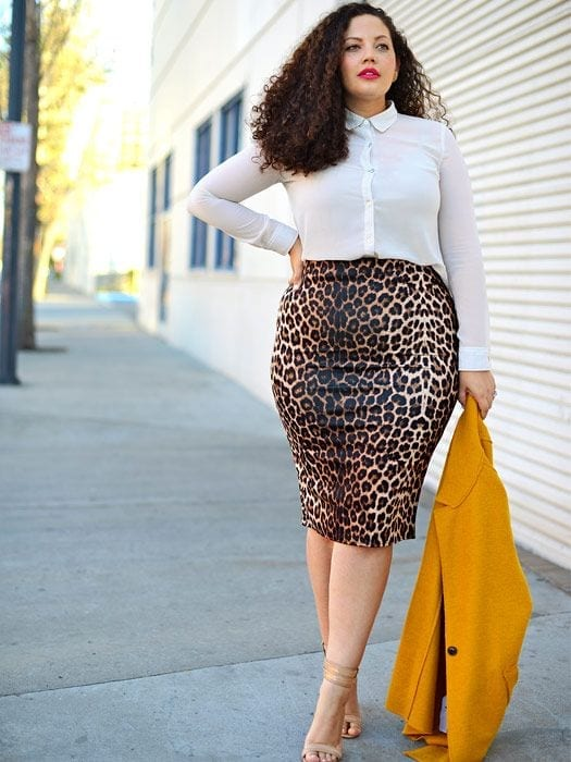#14 - Collar neck shirt over a cheetah printed skirt