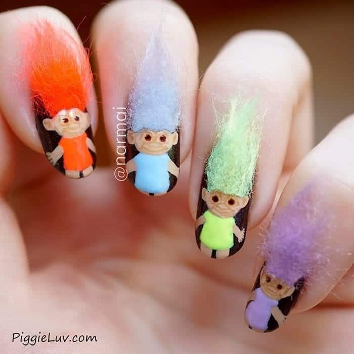 #16 - Cute Cartoon Furry Nail Idea