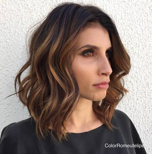 1-wavy-brunette-balayage-lob 28 Cute Hairstyles for Oval Face Shape Girls These Days