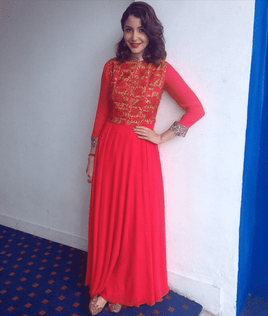 10-Anushka-Sharma-in-a-Beautiful-Red-Manish-Malhotra-Outfit Anushka Sharma Outfits-32 Best Dressing Styles of Anushka Sharma