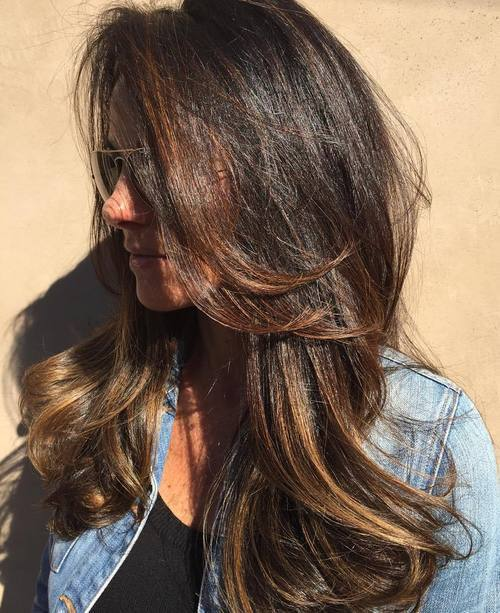 15-long-tousled-brunette-balayage-hairstyle 28 Cute Hairstyles for Oval Face Shape Girls These Days