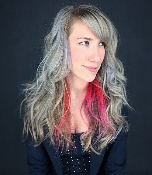 17-gray-layered-hairstyle-with-pink-peekaboo-highlights 28 Cute Hairstyles for Oval Face Shape Girls These Days