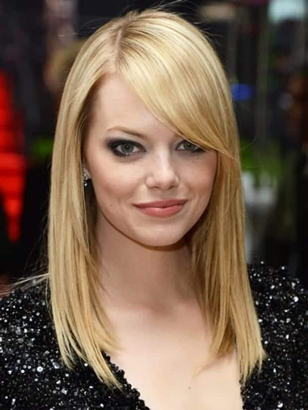 34-Emma-Stones-Straight-Cut-With-Fringes Hairstyles For Round Face-36 Cute Hairstyles for This Year