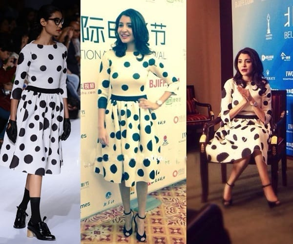 4-Anushka-Sharma-in-a-Fantastic-Dotted-Dress Anushka Sharma Outfits-32 Best Dressing Styles of Anushka Sharma