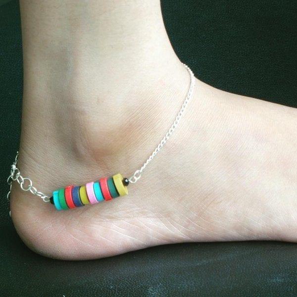 1-Kiddish-Colored-Prettiness Cute Ankle Bracelets-19 Ideas how to Wear Ankle Bracelets