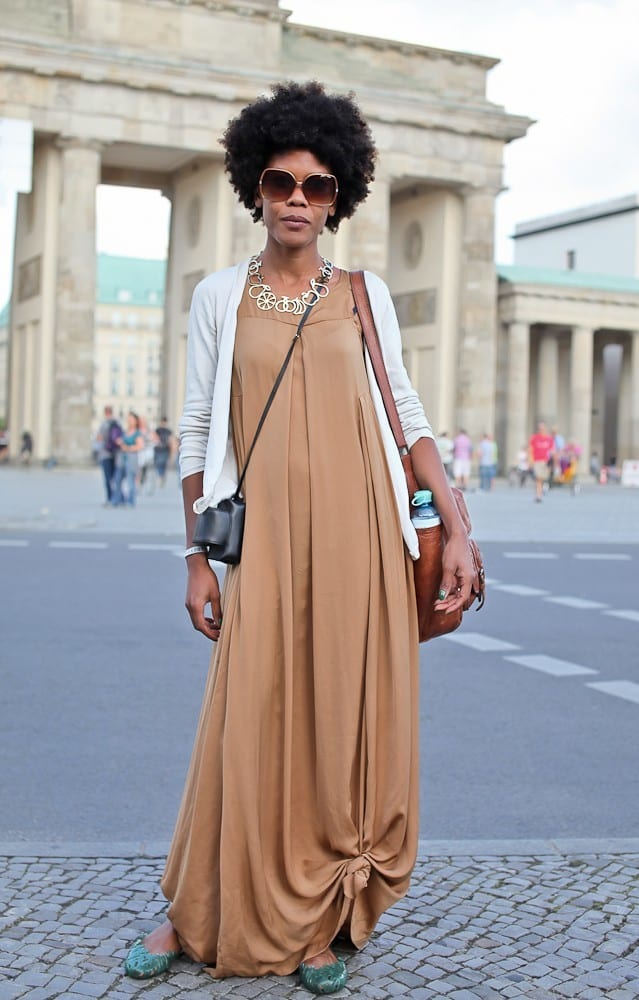12-Darker-Shaded-Nude-Long-Dress Latest Nude Outfit ideas-18 Ways to Wear Nude this Year