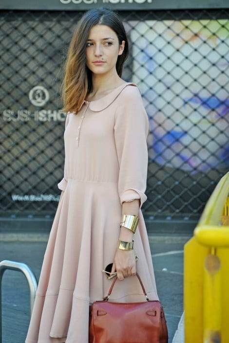13-A-Phenomenal-Nude-Long-Dress Latest Nude Outfit ideas-18 Ways to Wear Nude this Year