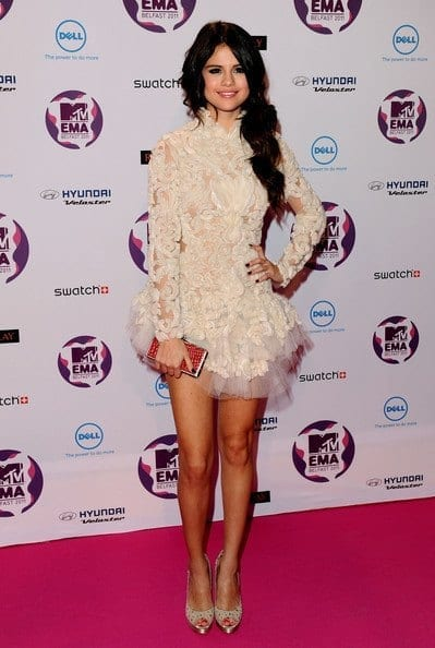 14-A-Frilled-Lace-Short-Dress Selena Gomez Outfits-25 Best Dressing Styles of Selena to Copy