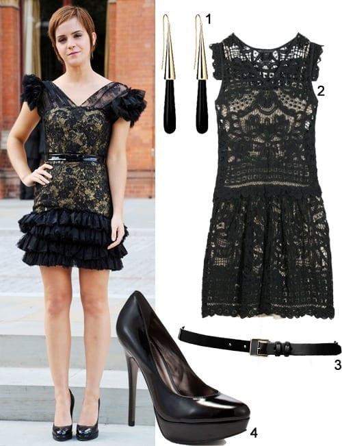 17-A-Wondrous-Girlish-Lace-Dress Emma Watson Outfits - 25 Best Dressing Style of Emma Watson