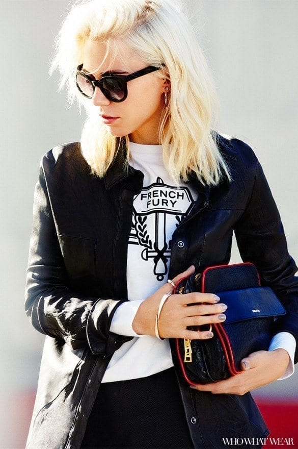 17-Wear-A-Gorgeous-Moto-Jacket-Over-It Graphic Tee Ideas-20 Stylish Outfit Ideas with Graphic Tees