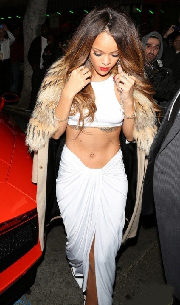 Rihanna arrives at the Supper Club after the Grammys, where she met up with Chris Brown