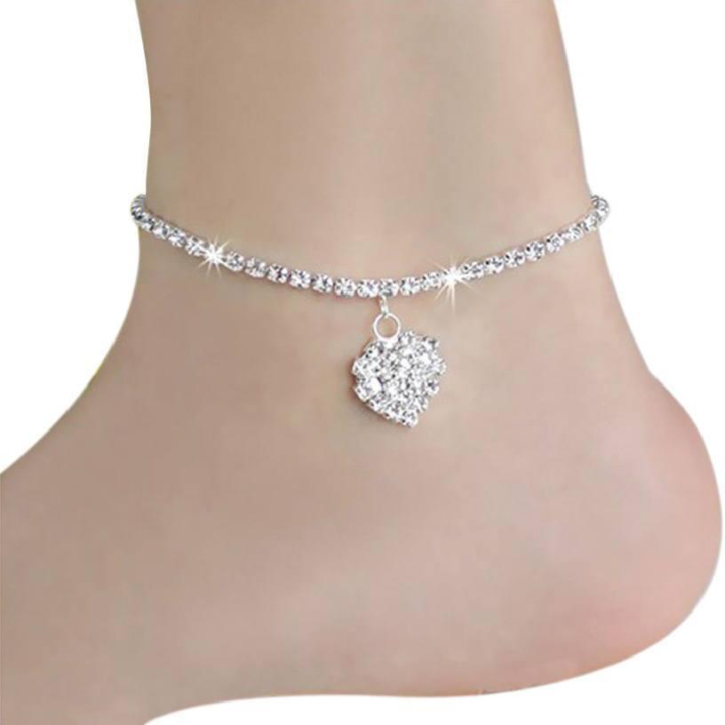 2-Heart-Rhinestone-Crystal-Sophistication Cute Ankle Bracelets-19 Ideas how to Wear Ankle Bracelets