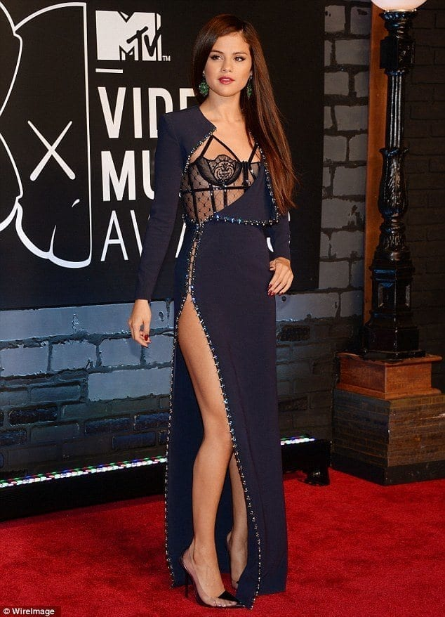 20-Lingerie-inspired-Side-cut-Gown Selena Gomez Outfits-25 Best Dressing Styles of Selena to Copy