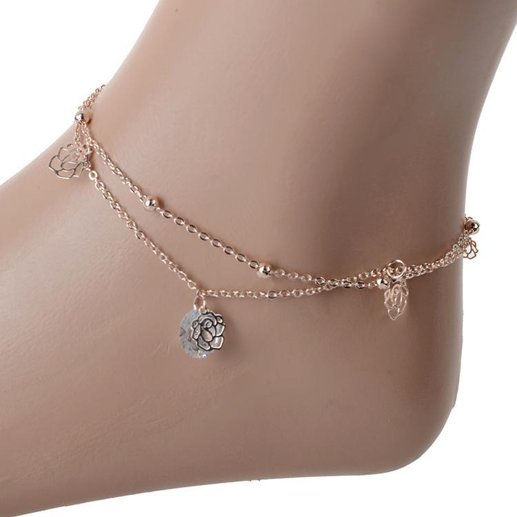 3-Minimalist-Hollow-Rose-Crystal-Bead Cute Ankle Bracelets-19 Ideas how to Wear Ankle Bracelets