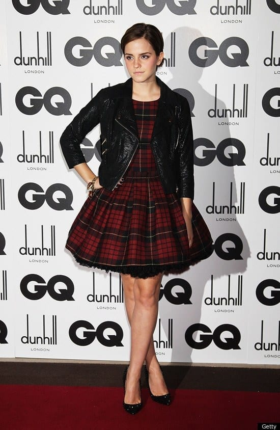 4-A-Catchy-Check-Printed-Frock Emma Watson Outfits - 25 Best Dressing Style of Emma Watson