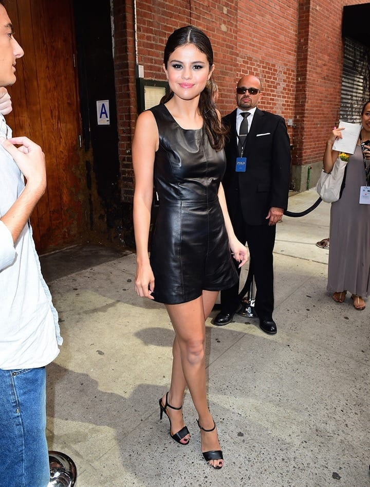 5-A-Classic-Matte-Leather-Dress Selena Gomez Outfits-25 Best Dressing Styles of Selena to Copy