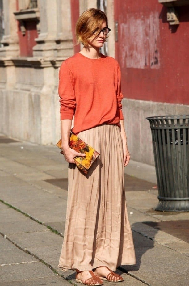 #6 - A Simplistic Nude Long Skirt Outfit