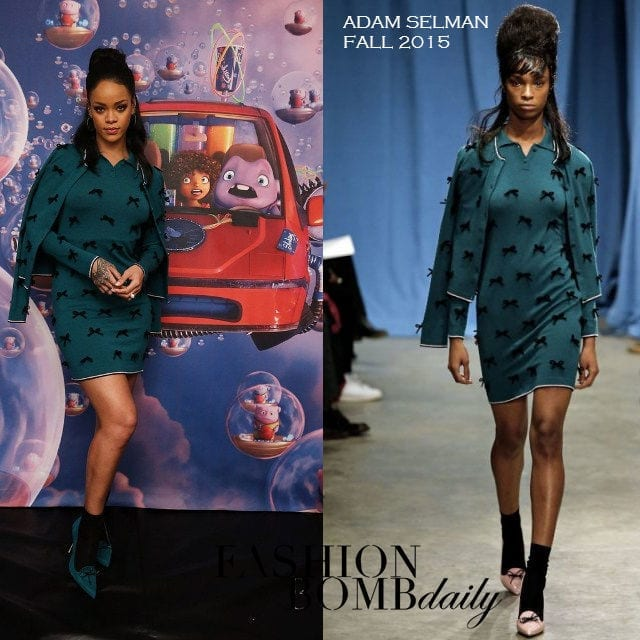 7-A-Bow-printed-Outfit Rihanna Outfits-25 Best Dressing Styles of Rihanna to Copy