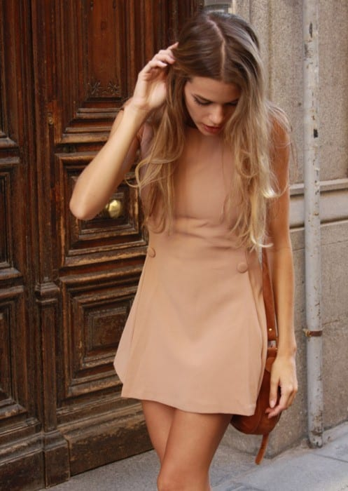 9-A-Matte-Nude-Short-Dress Latest Nude Outfit ideas-18 Ways to Wear Nude this Year