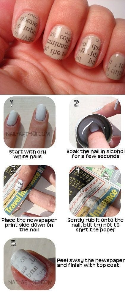 Newspaper-Nail-Art-Design Short Nail Designs - 25 Cute Nail Art Ideas for Short Nails