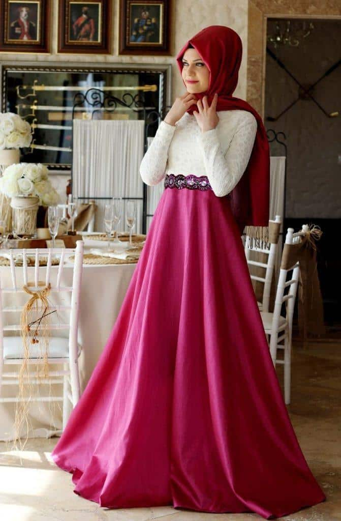 Champagne-Fuchsia-Long-Muslim-Evening-Dress-Hijab-2016-Beaded-Belt-Satin-Long-Sleeves-Turkish-Dubai-Abayas-671x1024 15 New Abaya Styles for Teenage Girls For Modest Look