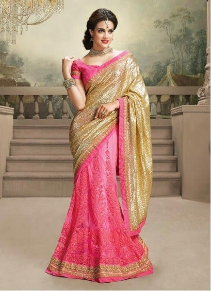 absorbing-pink-and-gold-shade-resham-wedding-saree-435x598-1 23 Latest Indian Wedding Saree Styles to Try this Year