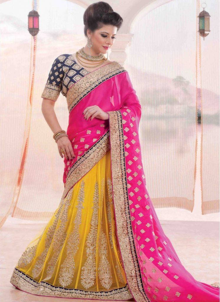 bridal-reception-and-wedding-hot-pink-and-yellow-chiffon-and-georgette-wedding-lehenga-saree-19096-790x1086-1-745x1024 23 Latest Indian Wedding Saree Styles to Try this Year