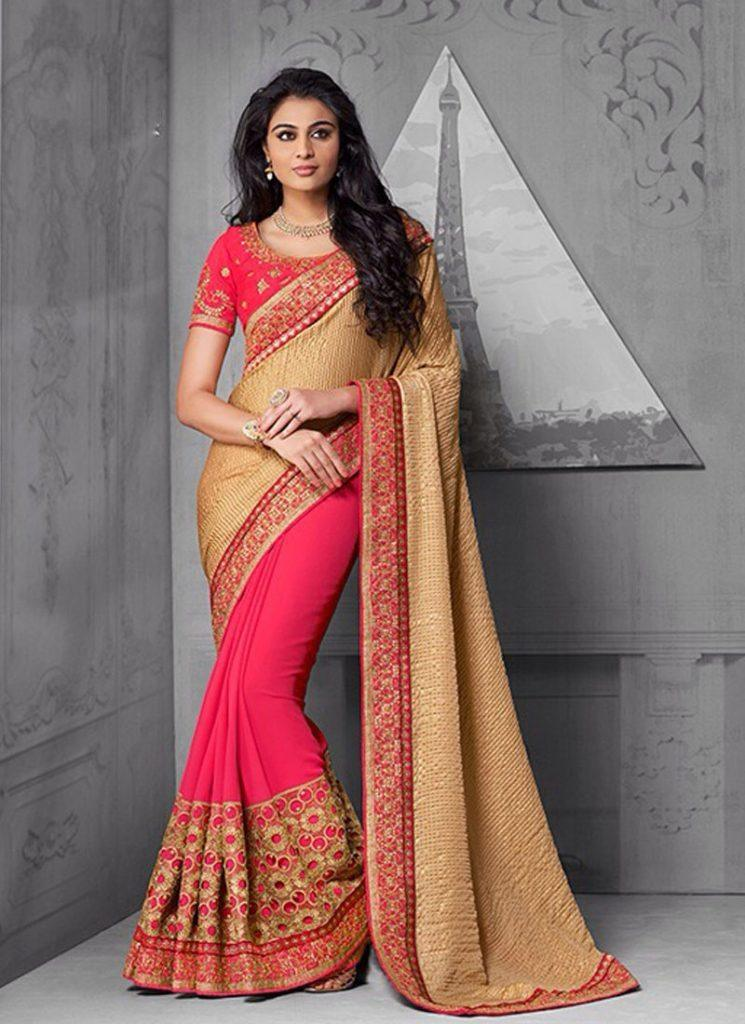 coral-pink-gold-saree-800x1100-1-745x1024 23 Latest Indian Wedding Saree Styles to Try this Year