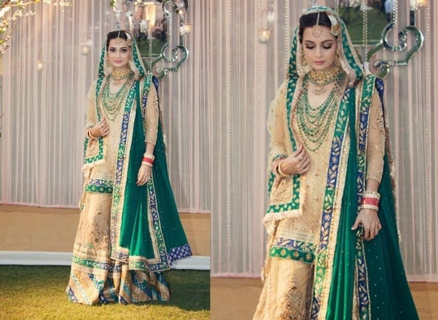 diyas-wedding-dress-green 10 Most Expensive Bollywood Wedding Dresses of All The Time