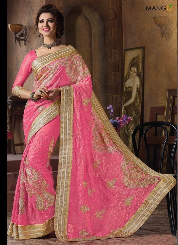 pink-and-gold-color-chiffon-party-wear-saree-4768-800x1100-1-745x1024 23 Latest Indian Wedding Saree Styles to Try this Year