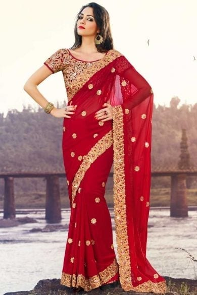 red-and-gold-saree-south-indian 23 Latest Indian Wedding Saree Styles to Try this Year