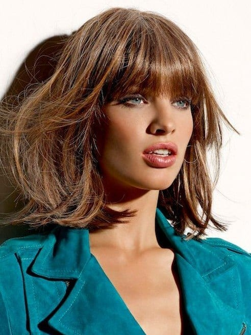 2015-Medium-Hairstyles-with-Blunt-Bangs-for-women-and-girls Skinny Girl Hair Looks - 25 Best Hairstyles for Skinny Girls