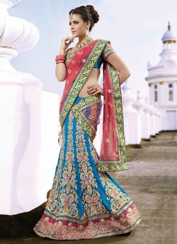 Elegant-Fashion-Wedding-Wear-Lahenga-sarees-Collection-2015-600x826-1 Latest Bridesmaid Saree Designs-20 New Styles to try in 2016