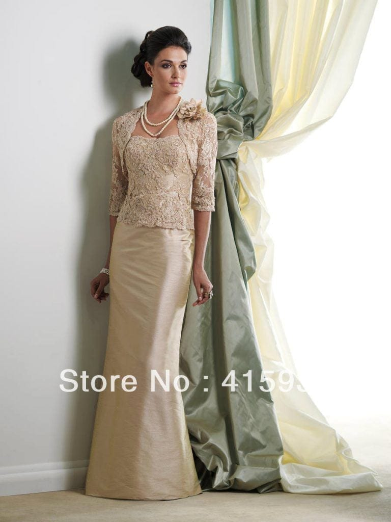 Elegant-champagne-sheath-lace-floor-length-long-with-jacket-mother-of-the-bride-dresses-MQ032-768x1024 Outfits for Brides Mothers-20 Latest Mother of the Bride Dresses