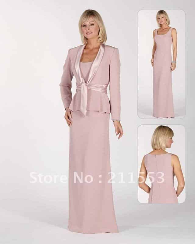 Elegant-scoop-neckline-shawl-collar-jacket-chiffon-mother-of-the-bride-dress-2012 Outfits for Brides Mothers-20 Latest Mother of the Bride Dresses